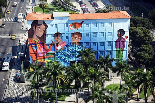 Grafite Contos na Escola Municipal Rivadávia Corrêa - parte do Projeto Rio Big Walls  - Rio de Janeiro - Rio de Janeiro (RJ) - Brasil