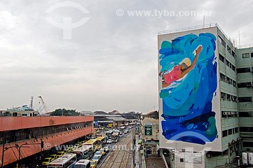 Mural Natação no Instituto Nacional de Câncer José Alencar Gomes da Silva (INCA) - Hospital do Câncer II (HC II) - parte do Projeto Esporte Arte  - Rio de Janeiro - Rio de Janeiro (RJ) - Brasil