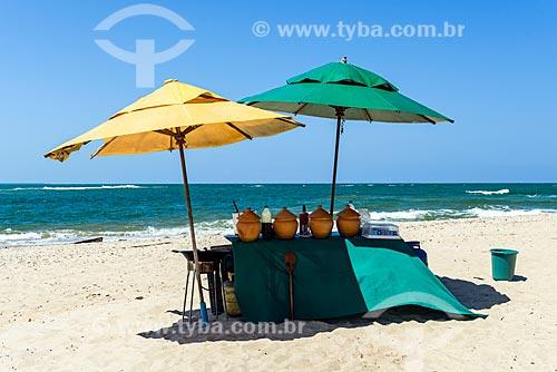Barraca na orla da Praia da Boca da Barra  - Cairu - Bahia (BA) - Brasil