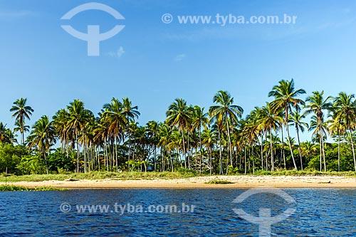 Vista da orla da Praia do Pontal a partir do Rio de Contas  - Itacaré - Bahia (BA) - Brasil