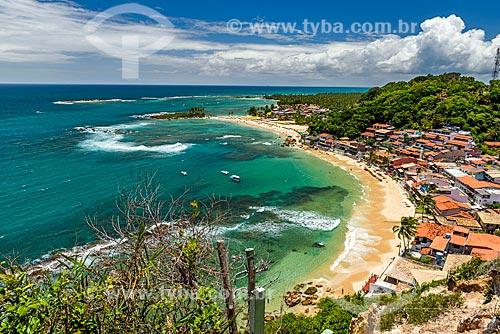 Vista da orla da 2ª Praia com a 1ª Praia ao fundo  - Cairu - Bahia (BA) - Brasil