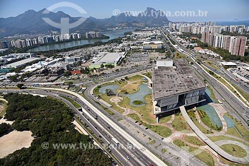 Foto aérea da Cidade das Artes - antiga Cidade da Música - com a Pedra da Gávea ao fundo  - Rio de Janeiro - Rio de Janeiro (RJ) - Brasil