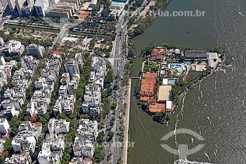 Foto aérea do Clube dos Caiçaras na Lagoa Rodrigo de Freitas  - Rio de Janeiro - Rio de Janeiro (RJ) - Brasil