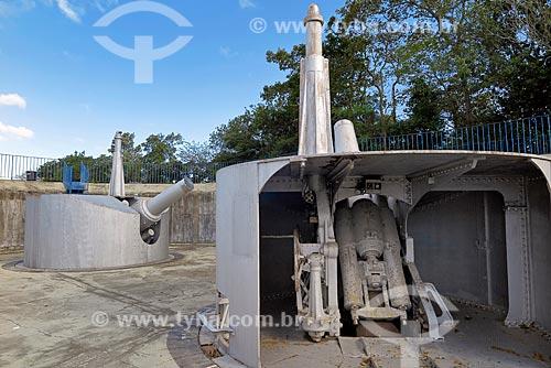 Detalhe de canhões no Forte Duque de Caxias - também conhecido como Forte do Leme  - Rio de Janeiro - Rio de Janeiro (RJ) - Brasil