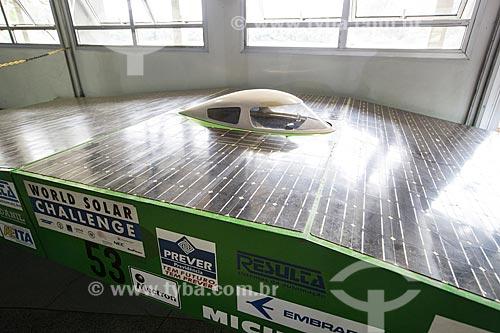Carro solar - SUN BA Brazil - projetado e fabricado pelo Instituto Tecnológico de Aeronáutica (1974-1986) em exibição no Memorial Aeroespacial Brasileiro (MAB)  - São José dos Campos - São Paulo (SP) - Brasil