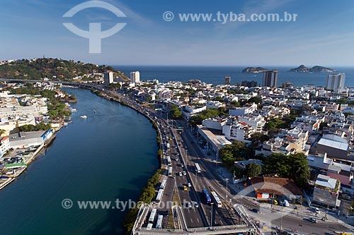 Vista aérea do bairro residencial Jardim Oceânico com o Canal da Joatinga  - Rio de Janeiro - Rio de Janeiro (RJ) - Brasil