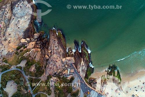 Foto aérea da Pedra do Arpoador - Visão Vertical  - Rio de Janeiro - Rio de Janeiro (RJ) - Brasil