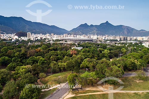 Vista aérea da Quinta da Boa Vista com Estádio Mario Filho (Maracanã) ao fundo  - Rio de Janeiro - Rio de Janeiro (RJ) - Brasil