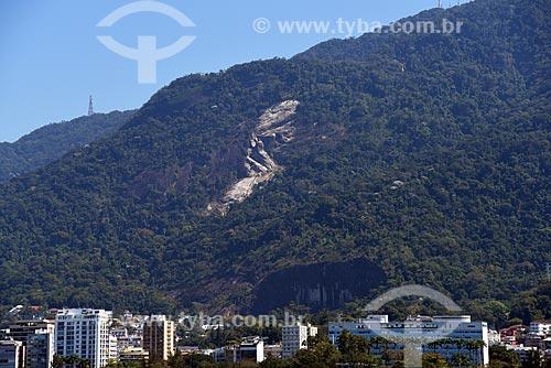Deslizamento de terra nas encostas das montanhas do Parque Nacional da Tijuca  - Rio de Janeiro - Rio de Janeiro (RJ) - Brasil