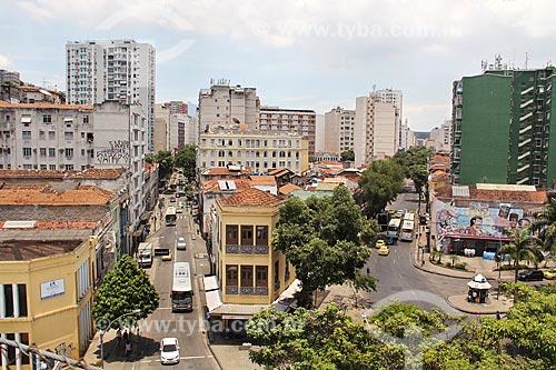 Vista da Rua do Riachuelo - à esquerda - com a Avenida Mem de Sá - à direita  - Rio de Janeiro - Rio de Janeiro (RJ) - Brasil