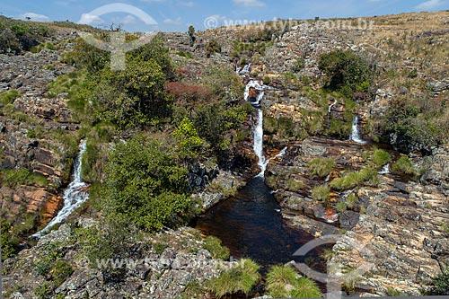 Foto feita com drone da Cachoeira das Rolinhas no Parque Nacional da Serra da Canastra  - São Roque de Minas - Minas Gerais (MG) - Brasil
