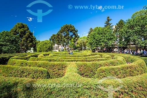 Labirinto Verde - escultura de jardinagem em forma de labirinto - na Praça das Flores  - Nova Petrópolis - Rio Grande do Sul (RS) - Brasil