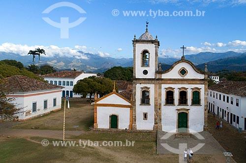 Foto feita com drone da Igreja de Santa Rita de Cássia (1722) no centro histórico da cidade de Paraty  - Paraty - Rio de Janeiro (RJ) - Brasil