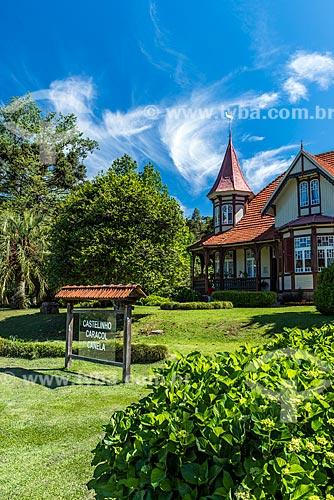 Fachada do Castelinho Caracol (1915) - uma das primeiras residências do município de Canela, mantida como Museu  - Canela - Rio Grande do Sul (RS) - Brasil
