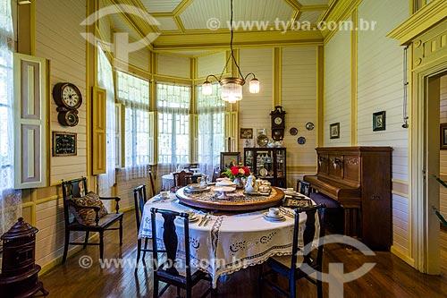 Interior do Castelinho Caracol (1915) - uma das primeiras residências do município de Canela, mantida como Museu  - Canela - Rio Grande do Sul (RS) - Brasil