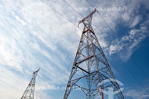 Torres de transmissão da Central de Conversão de Energia - onde é realizada a conversão das frequências de 60Hz (Brasil) para de 50Hz (Argentina)  - Garruchos - Rio Grande do Sul (RS) - Brasil