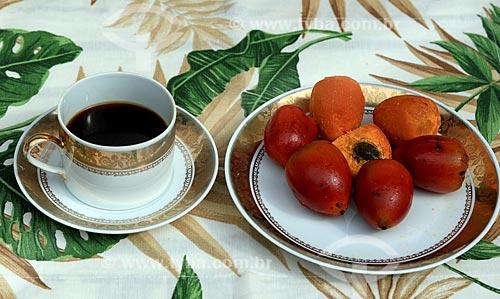 Detalhe de café da manha com pupunha (Bactris gasipaes)  - Manaus - Amazonas (AM) - Brasil