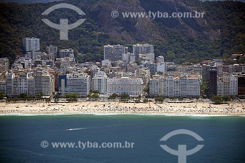 Foto aérea da Praia de Copacabana com o Hotel Copacabana Palace (1923)  - Rio de Janeiro - Rio de Janeiro (RJ) - Brasil