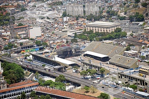 Foto aérea do Sambódromo da Marquês de Sapucaí (1984) - montagem do palco para o show Ultra Brasil 2017  - Rio de Janeiro - Rio de Janeiro (RJ) - Brasil