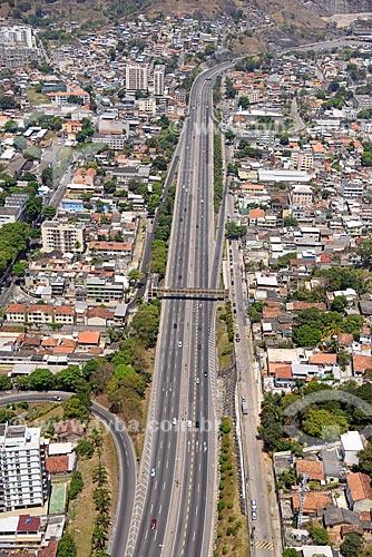 Foto aérea de trecho da Linha Amarela próximo ao bairro de Engenho de Dentro  - Rio de Janeiro - Rio de Janeiro (RJ) - Brasil