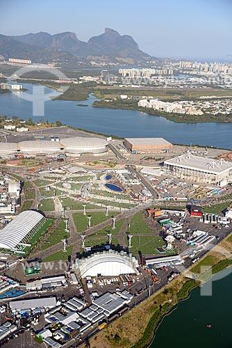 Foto aérea do Parque Olímpico Rio 2016 durante o Rock in Rio 2017 com a Pedra da Gávea ao fundo  - Rio de Janeiro - Rio de Janeiro (RJ) - Brasil