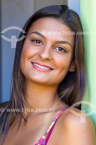 Detalhe de rosto de jovem mulher  - Guarani - Minas Gerais (MG) - Brasil