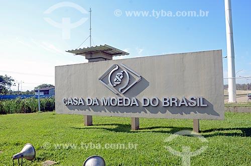 Letreiro na entrada da Casa da Moeda do Brasil  - Rio de Janeiro - Rio de Janeiro (RJ) - Brasil
