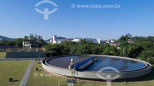 Foto feita com drone da estação de tratamento de esgoto da cidade de Blumenau  - Blumenau - Santa Catarina (SC) - Brasil