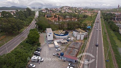 Foto feita com drone da Estação de Tratamento de Esgoto do Mutum - entre a Rodovia Amaral Peixoto (RJ-106) e a Rodovia Norte-Sul  - Macaé - Rio de Janeiro (RJ) - Brasil