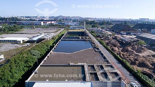 Foto feita com drone da estação de tratamento de esgoto da cidade de Mauá  - Mauá - São Paulo (SP) - Brasil