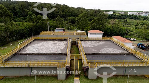 Foto feita com drone da estação de tratamento de esgoto da cidade de Rio Claro  - Rio Claro - São Paulo (SP) - Brasil