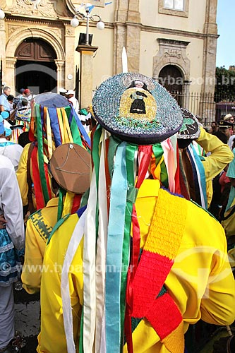 Membros de congada reunidos para a Benção das Congadas na Matriz Basílica Nossa Senhora da Conceição Aparecida - Basílica Velha - durante a festa de São Benedito  - Aparecida - São Paulo (SP) - Brasil