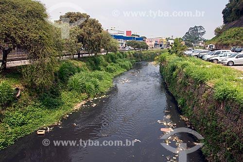 Rio Tamanduateí poluído próximo à nascente  - Mauá - São Paulo (SP) - Brasil