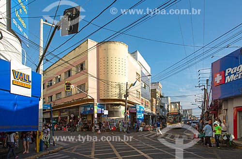 Vista de prédios comerciais na esquina das Ruas São Paulo e Rua Santa Luzia  - Juazeiro do Norte - Ceará (CE) - Brasil