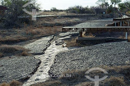 Vista de pegadas fossilizadas no Rio do Peixe na área do Monumento natural do Vale dos Dinossauros  - Sousa - Paraíba (PB) - Brasil