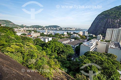 Vista do bairro da urca durante a escalada no Morro da Babilônia  - Rio de Janeiro - Rio de Janeiro (RJ) - Brasil