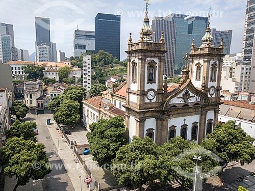 Foto feita com drone da Largo de São Francisco de Paula com a Igreja de São Francisco de Paula (1801)  - Rio de Janeiro - Rio de Janeiro (RJ) - Brasil