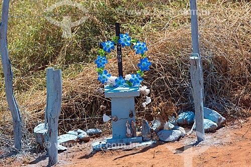 Detalhe de coroa de flores em homenagem a vítima de acidente no acostamento de entrada  - Santa Cruz da Baixa Verde - Pernambuco (PE) - Brasil