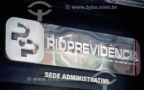 Detalhe da entrada do posto do RioPrevidência - fundo único de previdência social do estado do Rio de Janeiro  - Rio de Janeiro - Rio de Janeiro (RJ) - Brasil