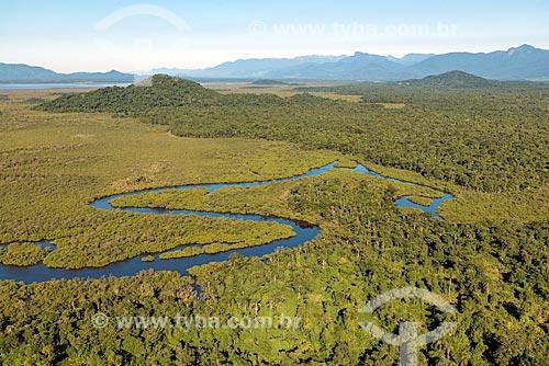 Foto aérea de manguezal na Baía de Guaratuba  - Guaratuba - Paraná (PR) - Brasil