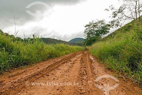 Estrada de terra após chuva na zona rural da cidade de Guarani  - Guarani - Minas Gerais (MG) - Brasil