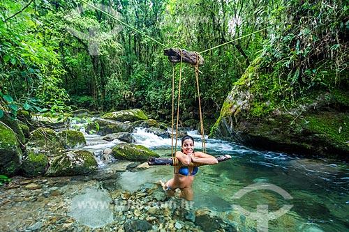 Banhista no Rio Santo Antônio - Área de Proteção Ambiental da Serrinha do Alambari  - Resende - Rio de Janeiro (RJ) - Brasil