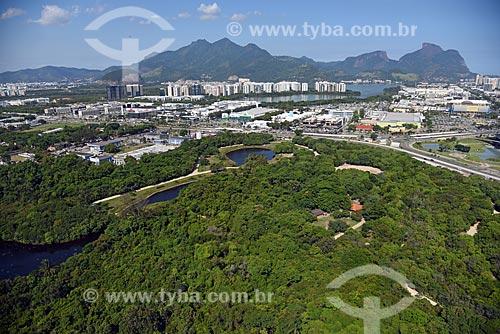Foto aérea do Parque Natural Municipal Bosque da Barra com a Pedra da Gávea ao fundo  - Rio de Janeiro - Rio de Janeiro (RJ) - Brasil