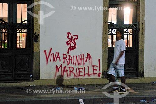 Pixação que diz: Viva Rainha Marielle - pelo assassinato da Vereadora Marielle Franco no centro  - Rio de Janeiro - Rio de Janeiro (RJ) - Brasil