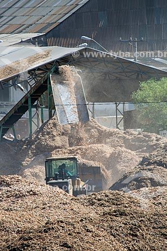 Pilha de resíduos de madeira usados para a produção de biomassa no distrito industrial da cidade de Mauá  - Mauá - São Paulo (SP) - Brasil