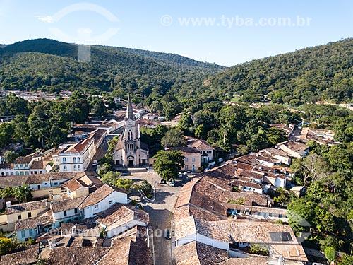 Foto feita com drone da cidade de Goiás com a Igreja de Nossa Senhora do Rosário dos Pretos (1930)  - Goiás - Goiás (GO) - Brasil