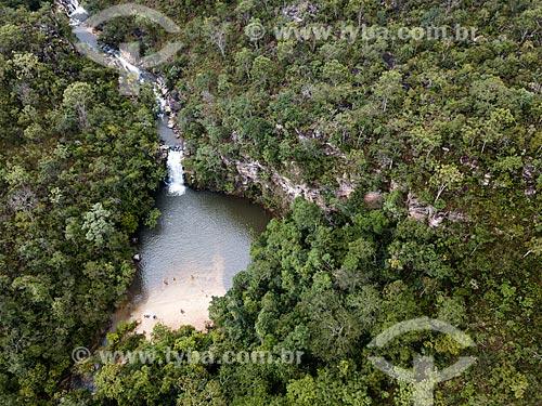 Foto feita com drone da Cachoeira Santa Maria na Reserva Ecológica Vargem Grande  - Pirenópolis - Goiás (GO) - Brasil
