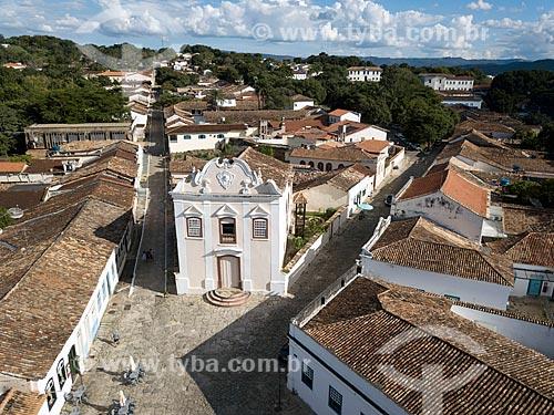 Foto feita com drone da Igreja de Nossa Senhora da Boa Morte (1779) - também abriga o Museu de Arte Sacra da Boa Morte  - Goiás - Goiás (GO) - Brasil