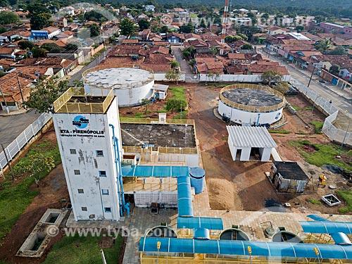 Foto feita com drone da estação de tratamento de água da Companhia Saneamento de Goiás S/A (SANEAGO) - concessionária de serviços de tratamento de água e esgoto  - Pirenópolis - Goiás (GO) - Brasil