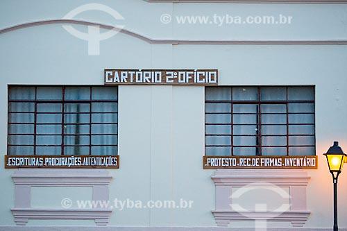 Fachada do cartório do 2º ofício no centro histórico da cidade de Goiás  - Goiás - Goiás (GO) - Brasil